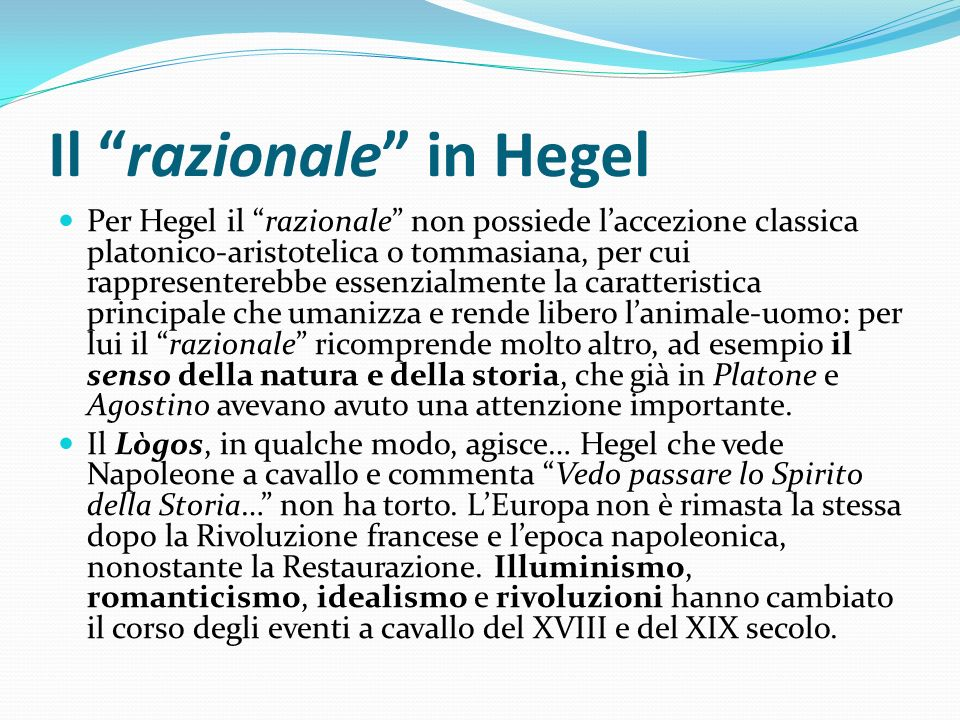 Il razionale in Hegel