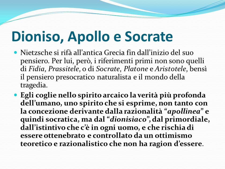 Dioniso, Apollo e Socrate