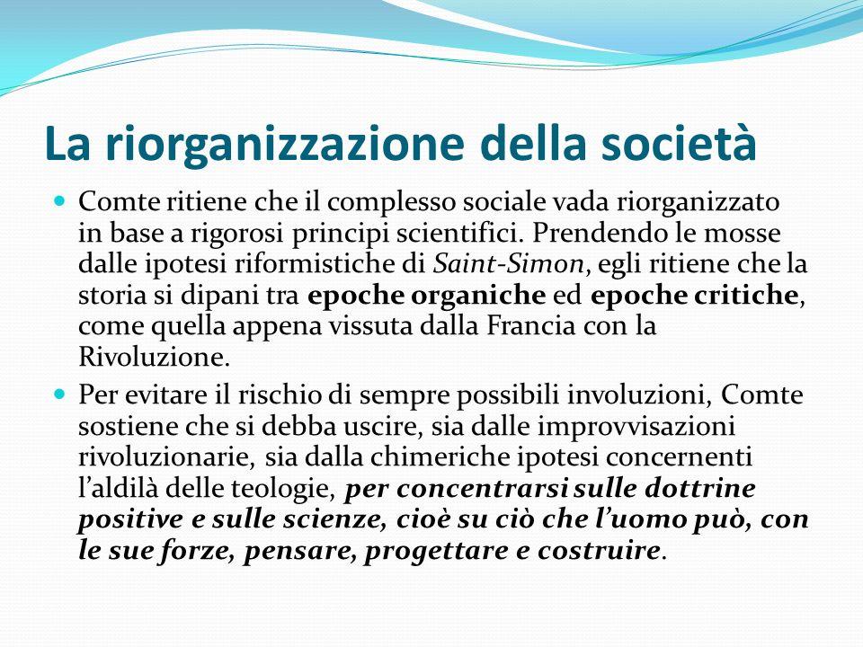 La riorganizzazione della società
