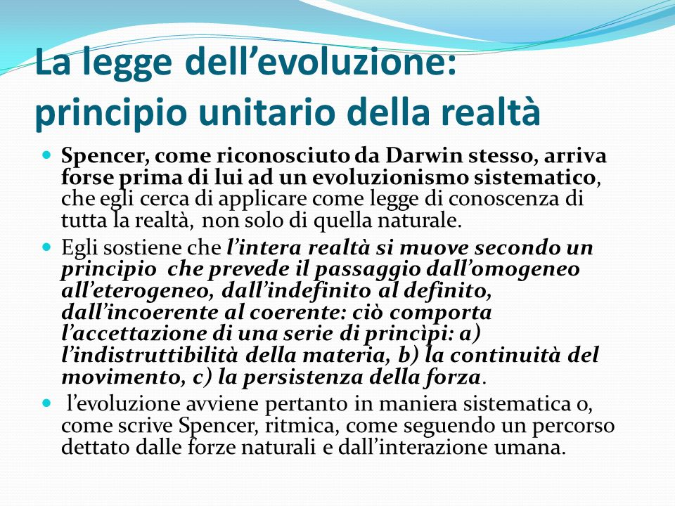 La legge dell'evoluzione: principio unitario della realtà