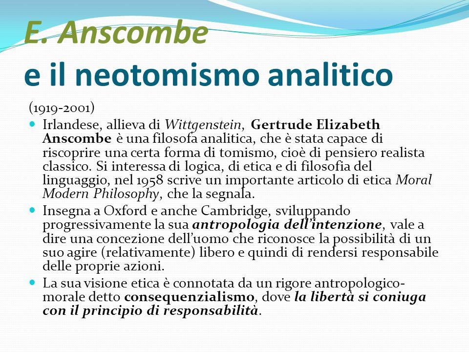 E. Anscombe e il neotomismo analitico