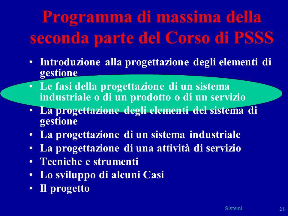 Programma di massima della seconda parte del Corso di PSSS