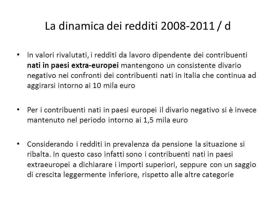 La dinamica dei redditi 2008-2011 / d