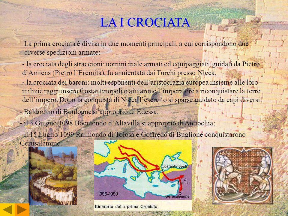 LA I CROCIATA La prima crociata è divisa in due momenti principali, a cui corrispondono due diverse spedizioni armate: