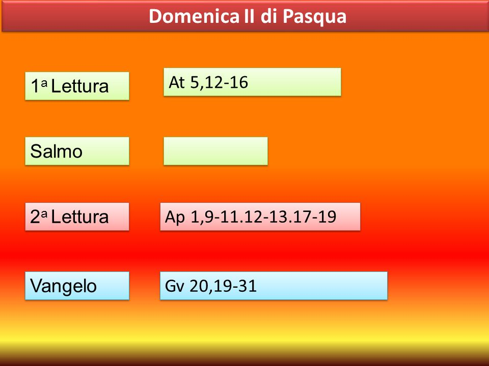 Domenica II di Pasqua At 5,12-16 1a Lettura Salmo 2a Lettura