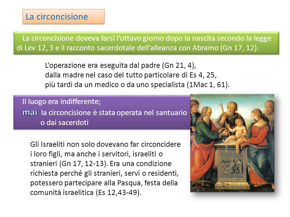 mai la circoncisione è stata operata nel santuario