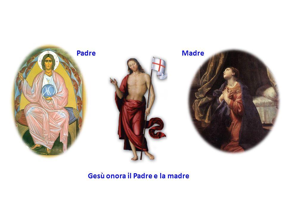 Padre Madre Gesù onora il Padre e la madre