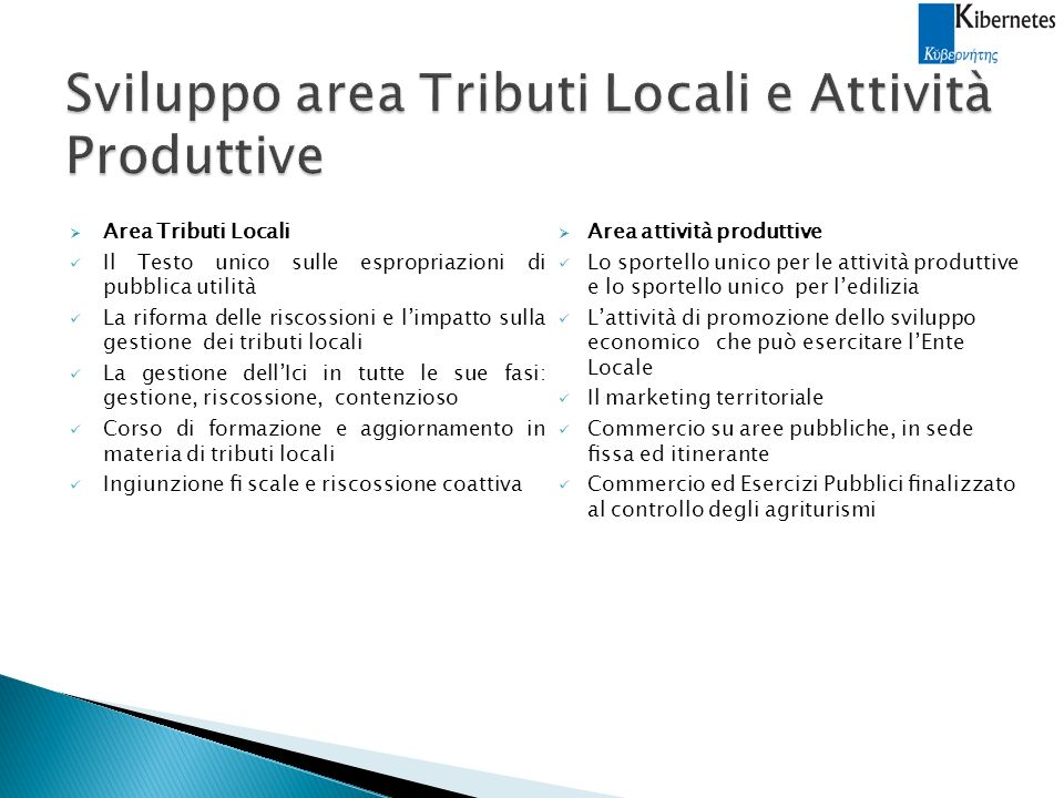 Sviluppo area Tributi Locali e Attività Produttive