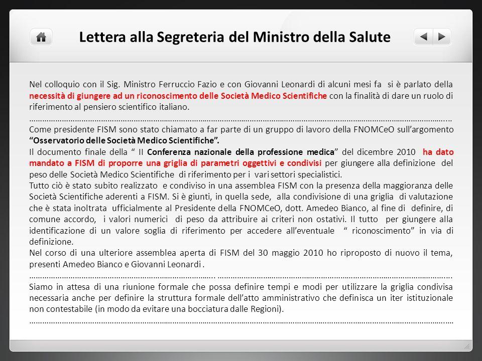 Lettera alla Segreteria del Ministro della Salute