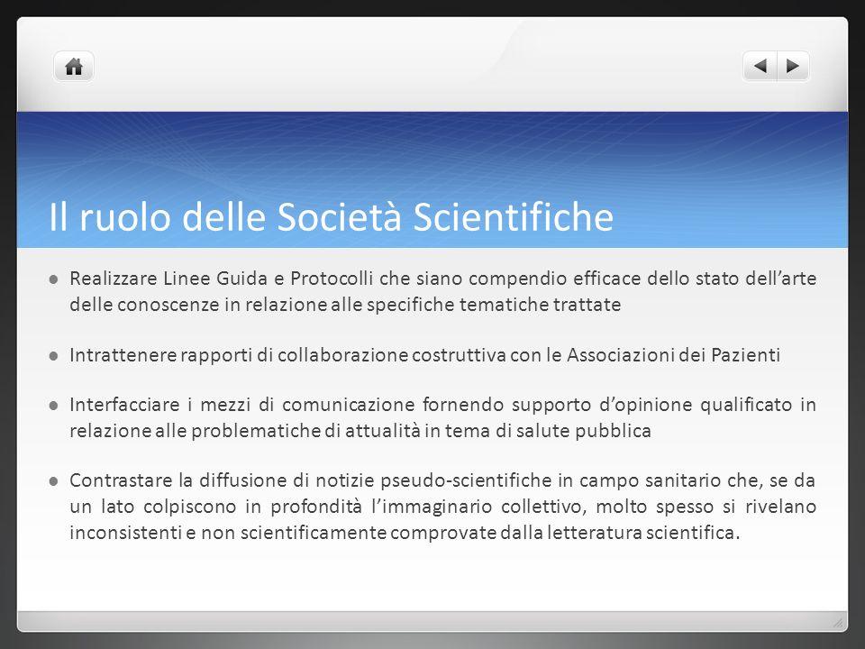 Il ruolo delle Società Scientifiche