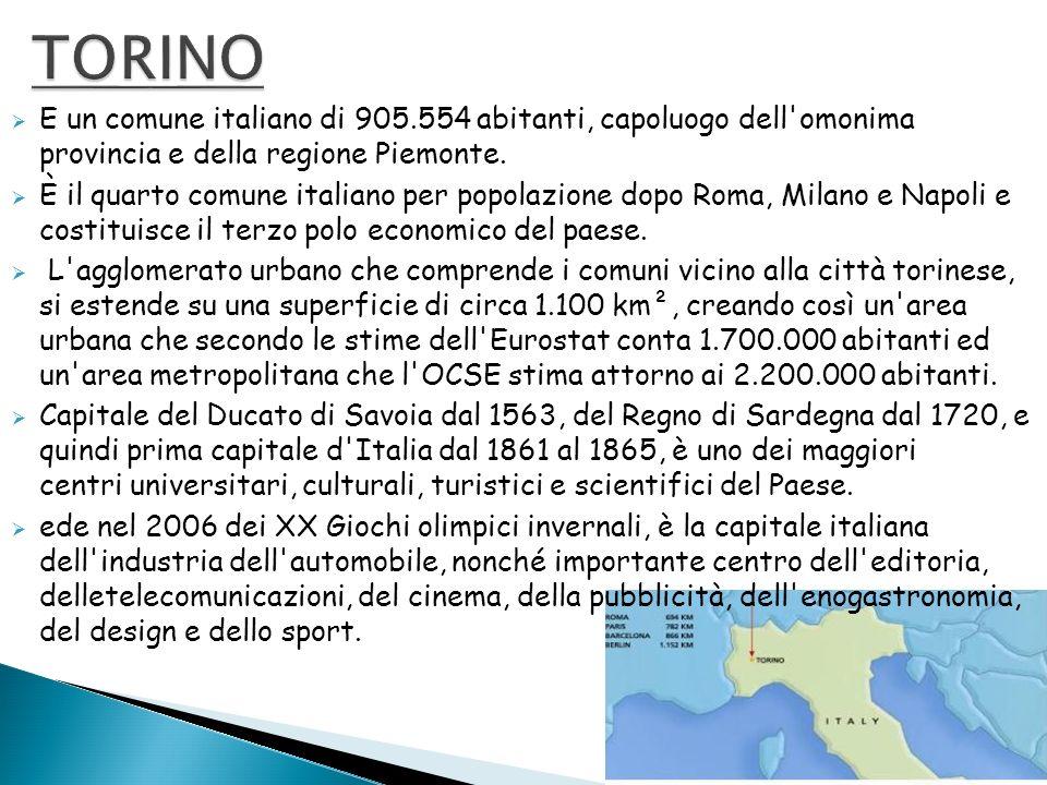 TORINO E un comune italiano di 905.554 abitanti, capoluogo dell omonima provincia e della regione Piemonte.