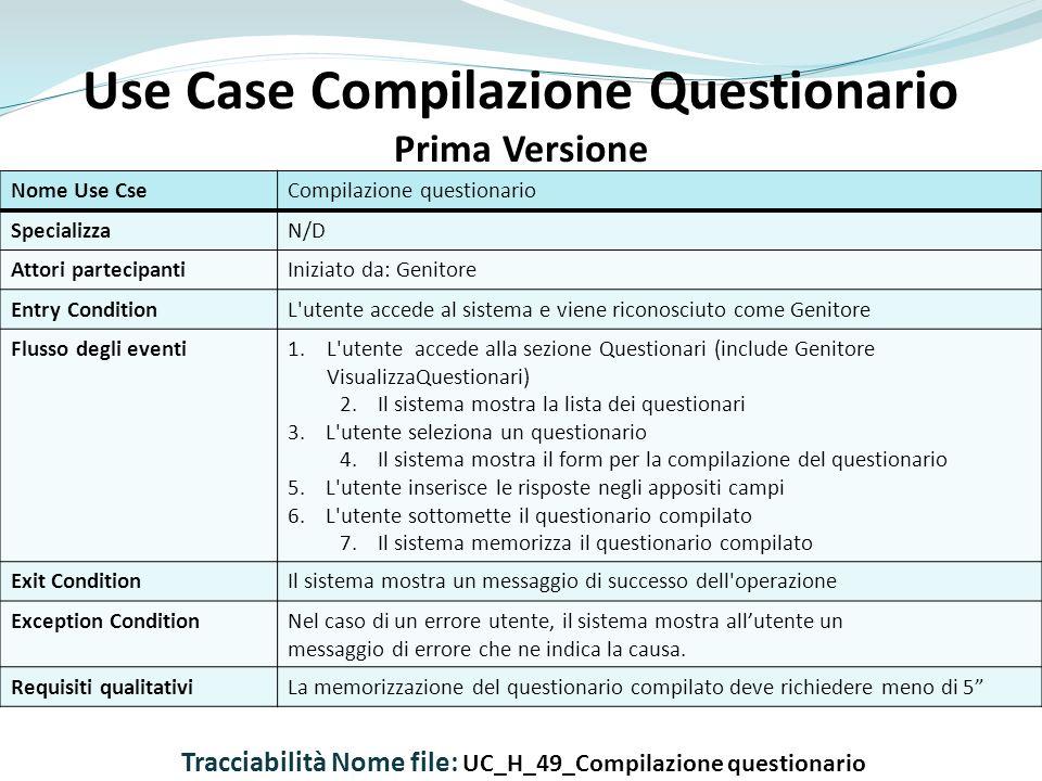 Use Case Compilazione Questionario
