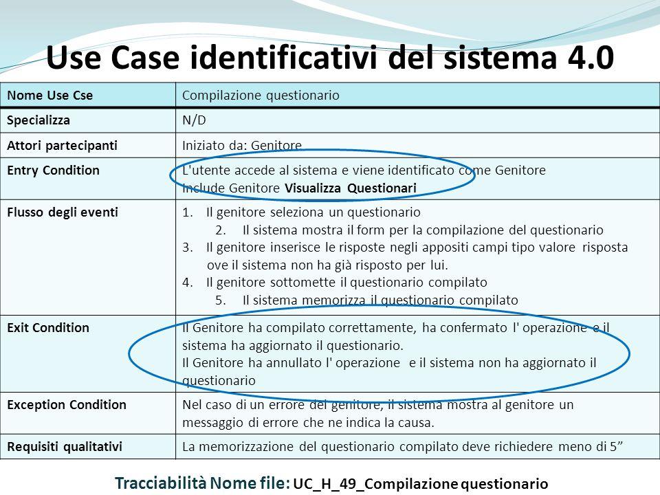 Use Case identificativi del sistema 4.0