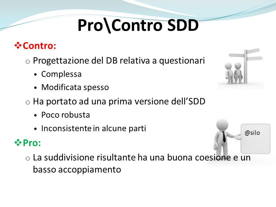 Pro\Contro SDD Contro: Pro: