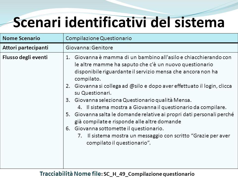 Scenari identificativi del sistema