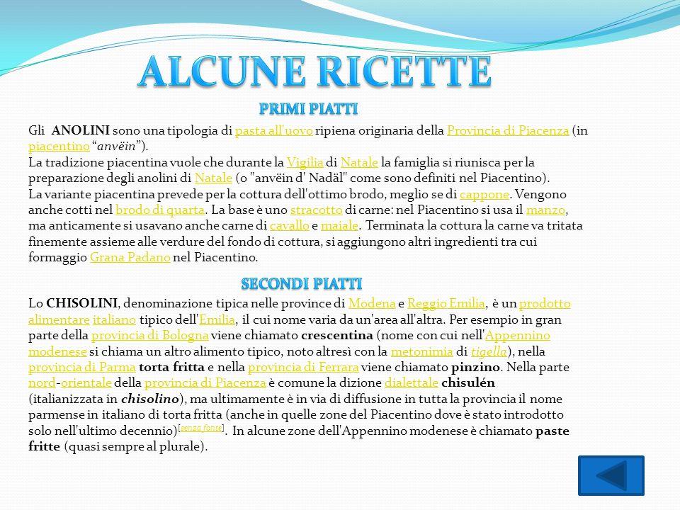 ALCUNE RICETTE PRIMI PIATTI SECONDI PIATTI