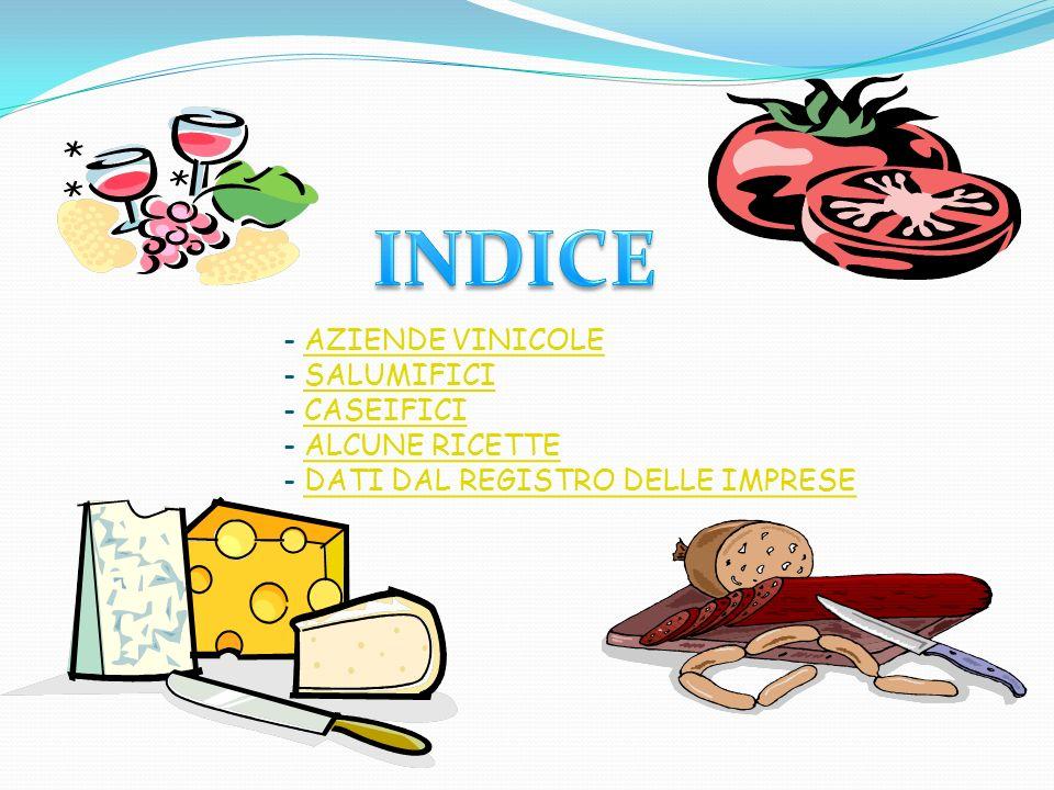 - AZIENDE VINICOLE - SALUMIFICI - CASEIFICI - ALCUNE RICETTE - DATI DAL REGISTRO DELLE IMPRESE