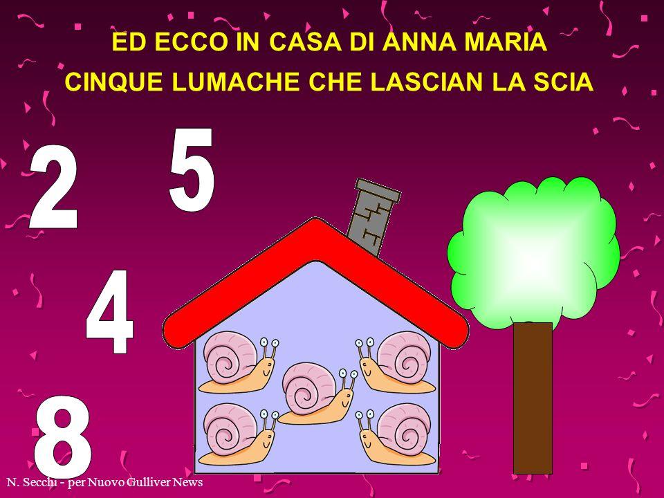 ED ECCO IN CASA DI ANNA MARIA CINQUE LUMACHE CHE LASCIAN LA SCIA