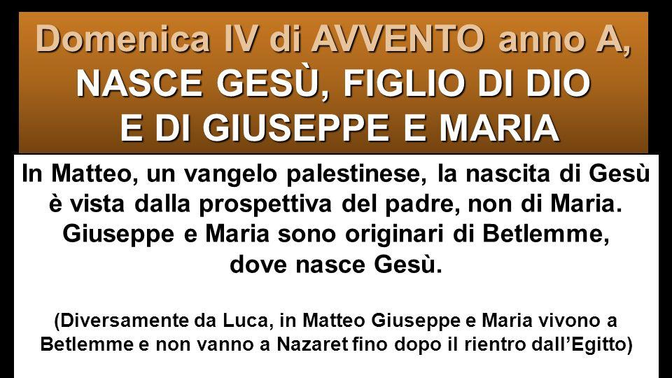 Domenica IV di AVVENTO anno A, NASCE GESÙ, FIGLIO DI DIO E DI GIUSEPPE E MARIA