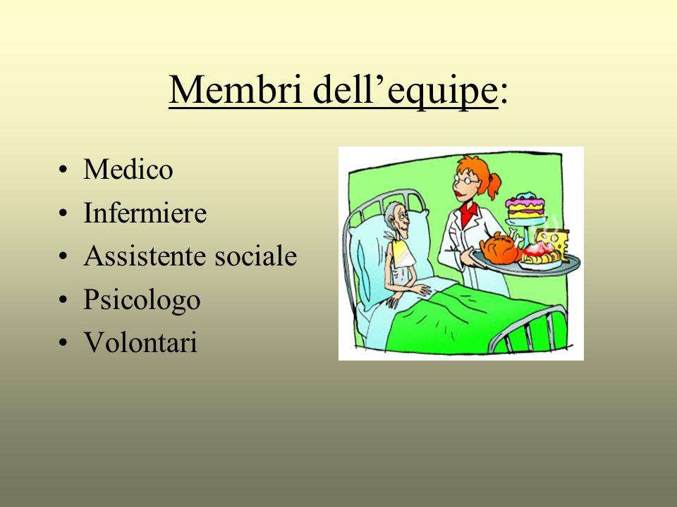 Membri dell'equipe: Medico Infermiere Assistente sociale Psicologo