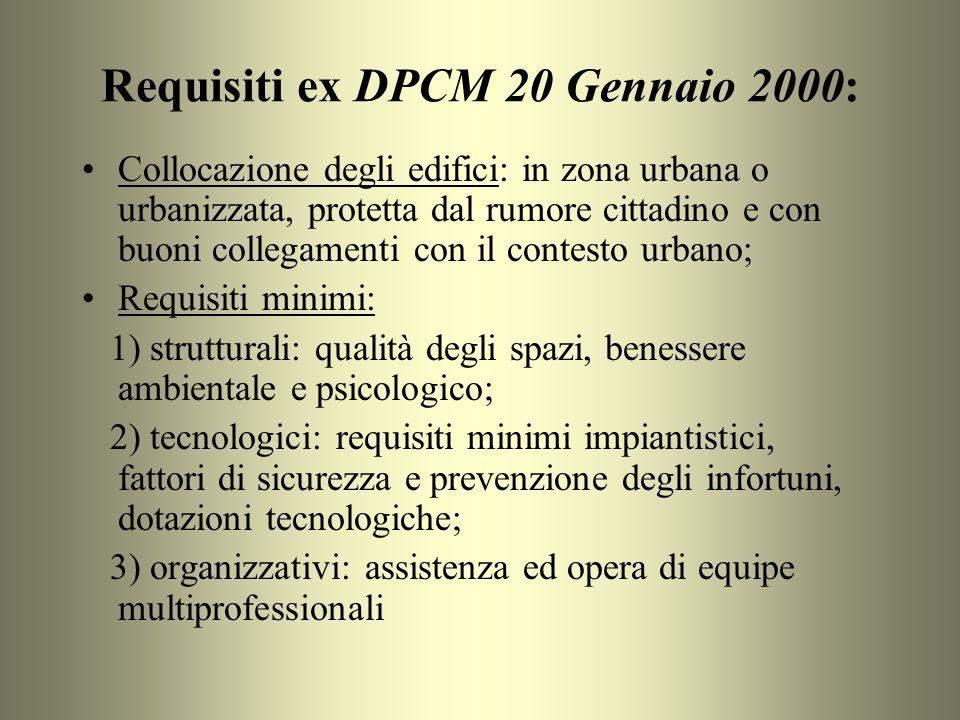 Requisiti ex DPCM 20 Gennaio 2000: