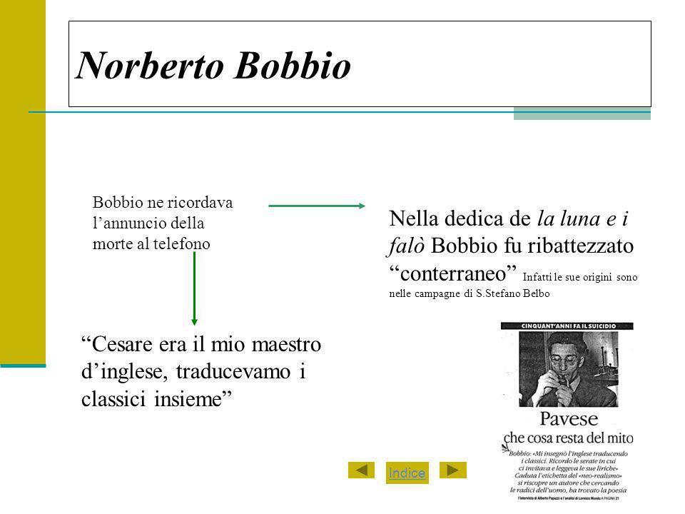 Norberto Bobbio Bobbio ne ricordava l'annuncio della morte al telefono.