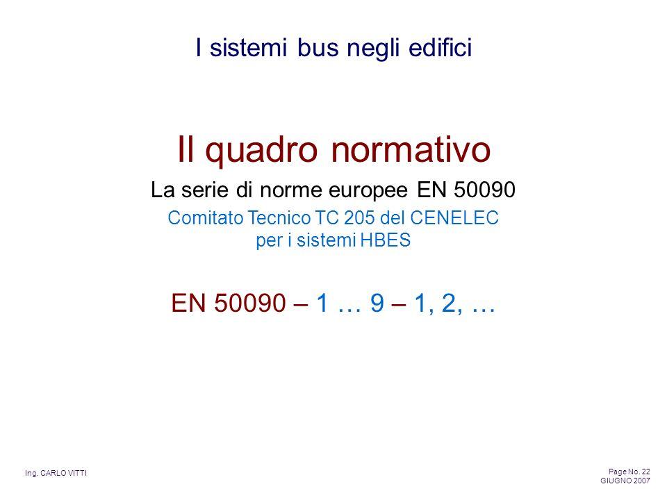 Il quadro normativo EN 50090 – 1 … 9 – 1, 2, …