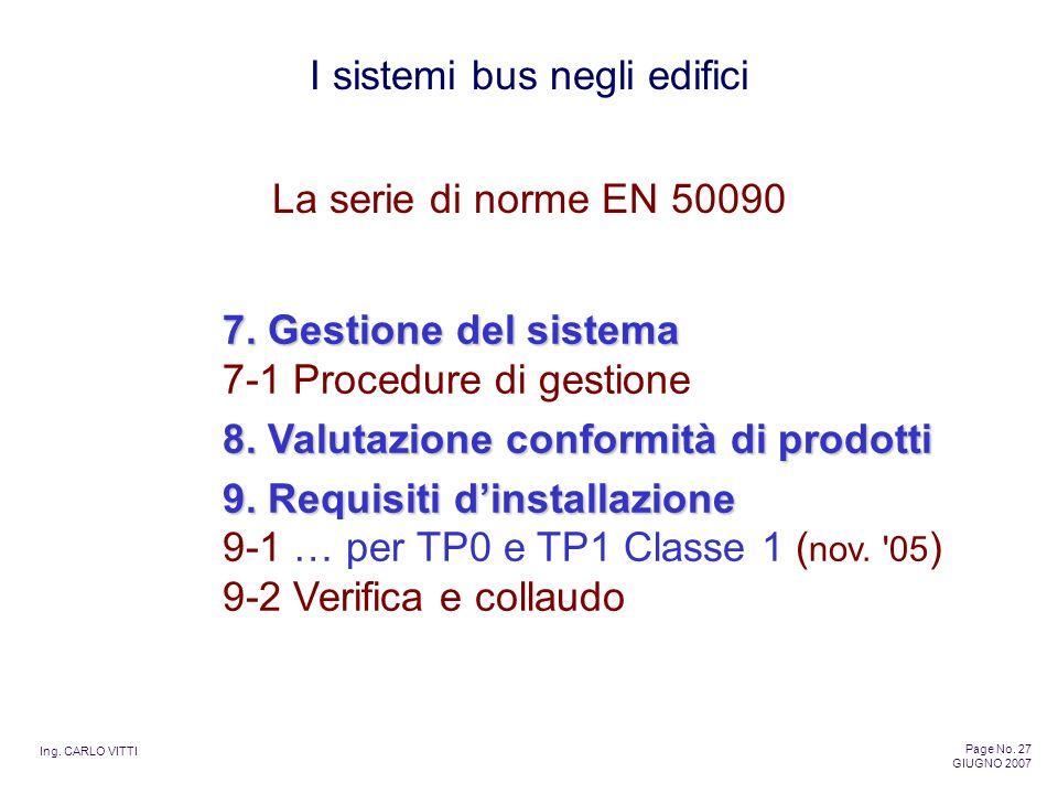 La serie di norme EN 50090 7. Gestione del sistema 7-1 Procedure di gestione. 8. Valutazione conformità di prodotti.
