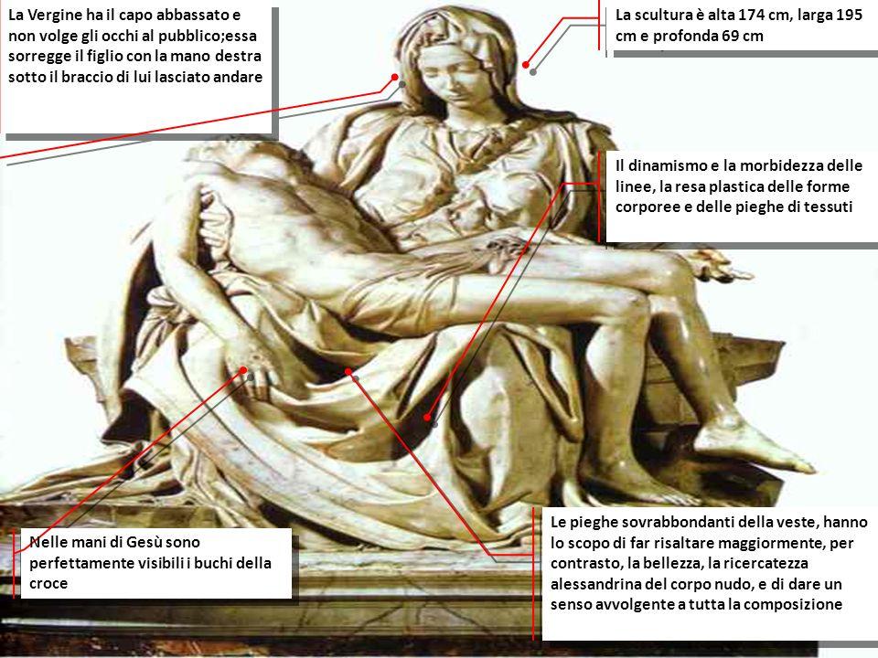 La Vergine ha il capo abbassato e non volge gli occhi al pubblico;essa sorregge il figlio con la mano destra sotto il braccio di lui lasciato andare