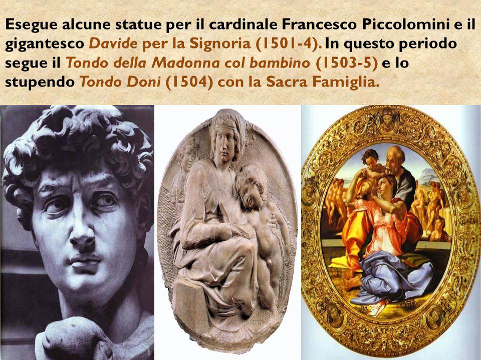 Esegue alcune statue per il cardinale Francesco Piccolomini e il gigantesco Davide per la Signoria (1501-4).