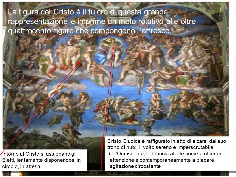 La figura del Cristo è il fulcro di questa grande rappresentazione e imprime un moto rotativo alle oltre quattrocento figure che compongono l'affresco.