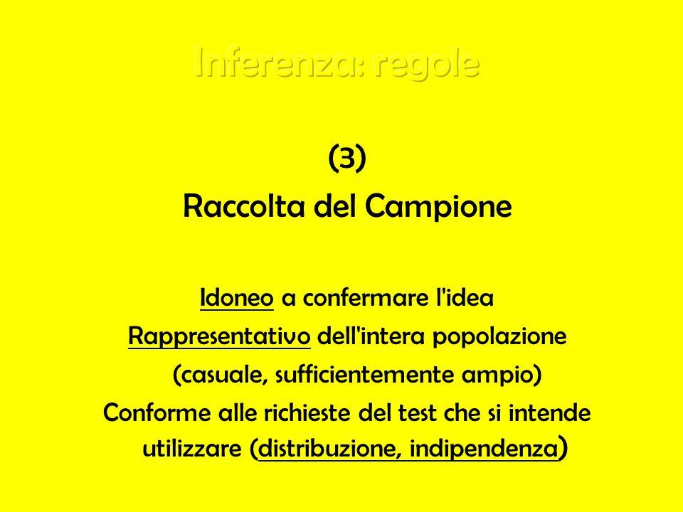 Inferenza: regole (3) Raccolta del Campione Idoneo a confermare l idea