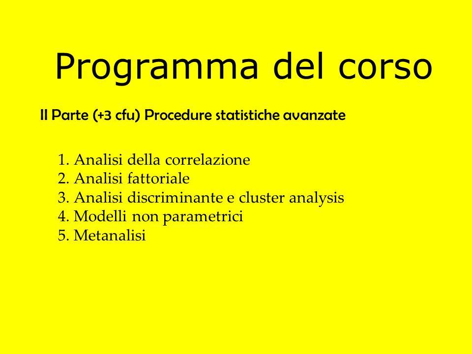 Programma del corso II Parte (+3 cfu) Procedure statistiche avanzate