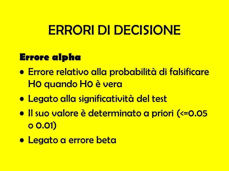 ERRORI DI DECISIONE Errore alpha