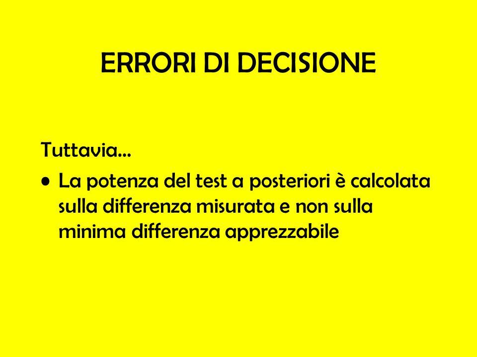 ERRORI DI DECISIONE Tuttavia…