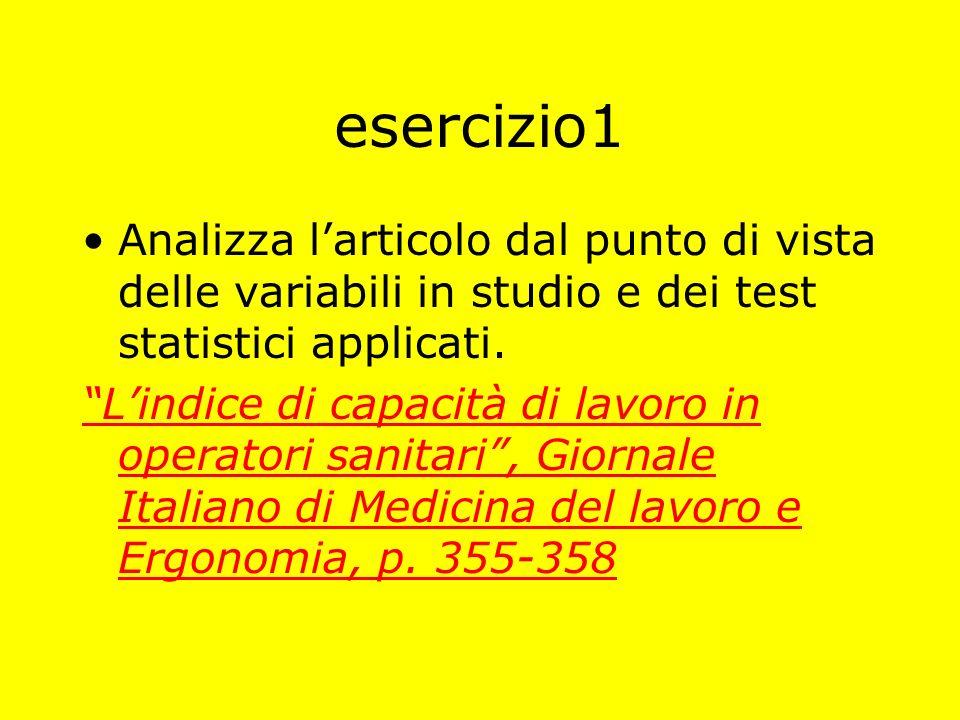 esercizio1 Analizza l'articolo dal punto di vista delle variabili in studio e dei test statistici applicati.