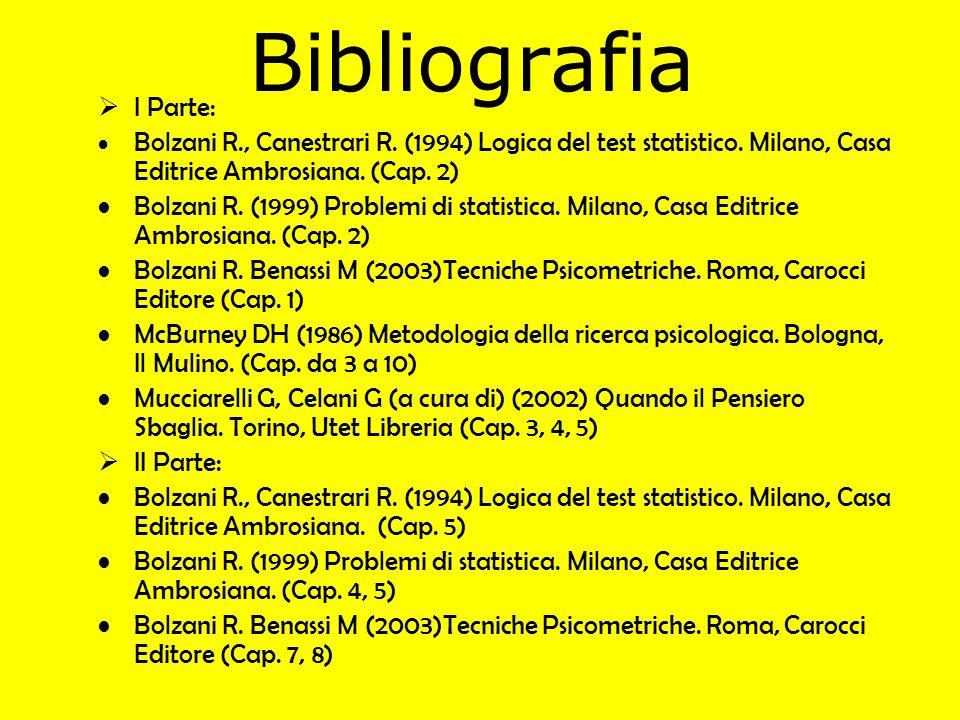 Bibliografia I Parte: Bolzani R., Canestrari R. (1994) Logica del test statistico. Milano, Casa Editrice Ambrosiana. (Cap. 2)
