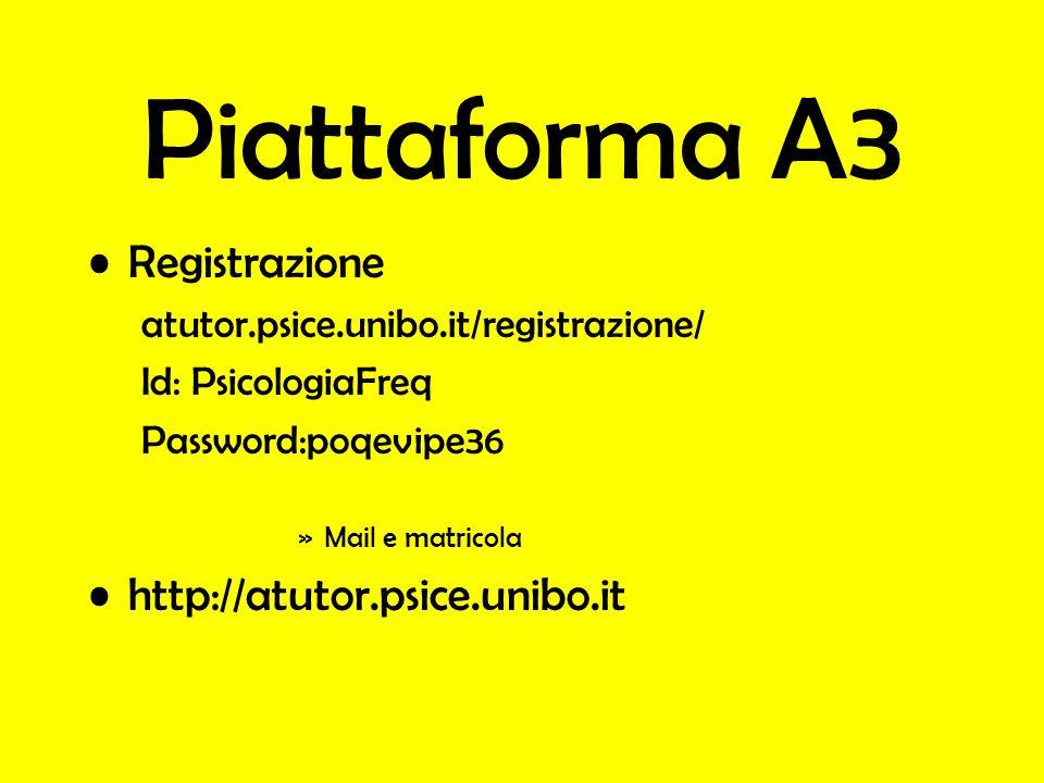 Piattaforma A3 Registrazione http://atutor.psice.unibo.it