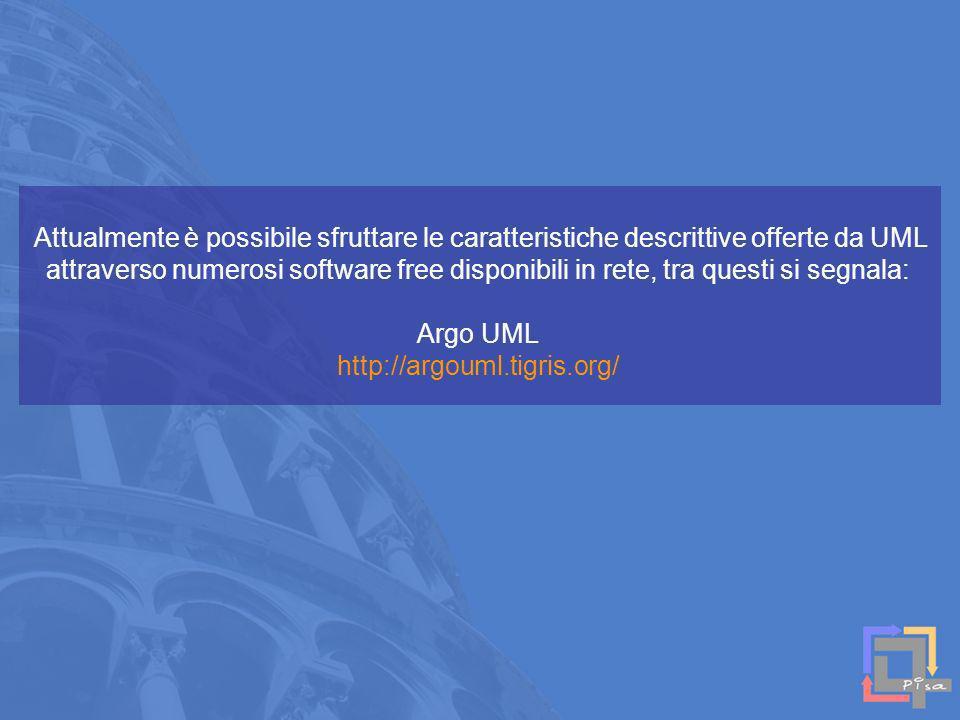 Attualmente è possibile sfruttare le caratteristiche descrittive offerte da UML attraverso numerosi software free disponibili in rete, tra questi si segnala: Argo UML http://argouml.tigris.org/