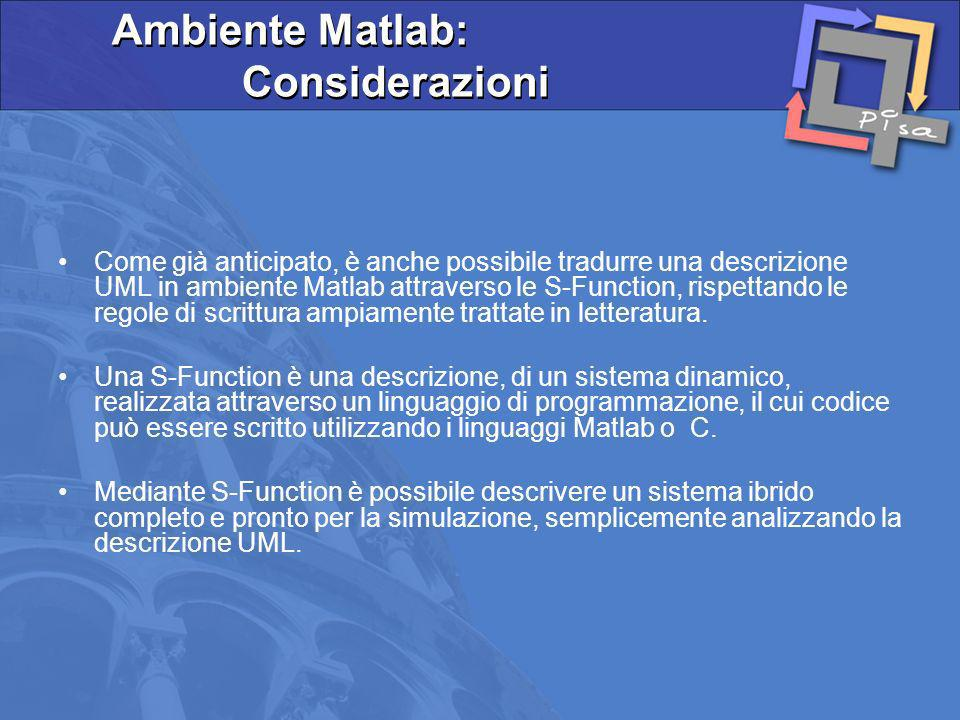 Ambiente Matlab: Considerazioni
