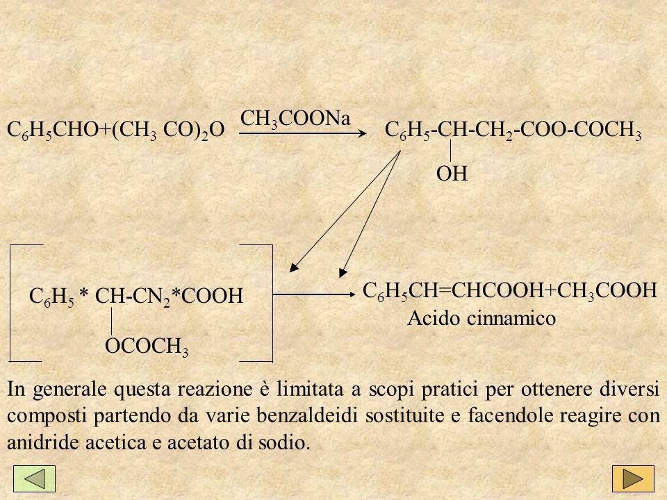 CH3COONa C6H5CHO+(CH3 CO)2O. C6H5-CH-CH2-COO-COCH3. OH. C6H5CH=CHCOOH+CH3COOH. C6H5 * CH-CN2*COOH.