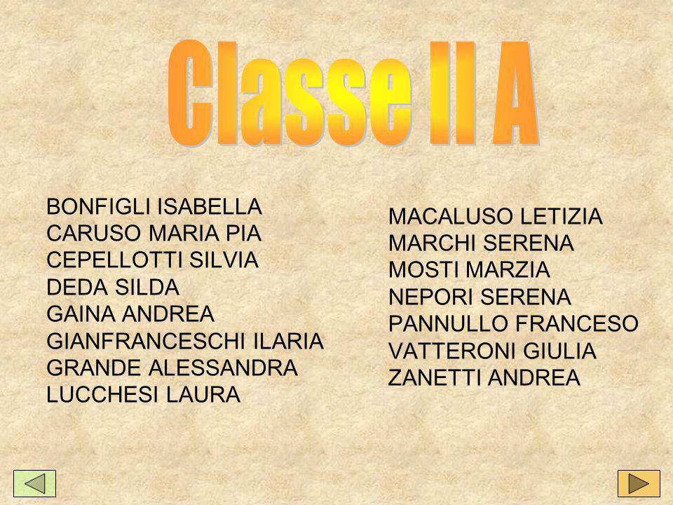 Classe II A BONFIGLI ISABELLA MACALUSO LETIZIA CARUSO MARIA PIA