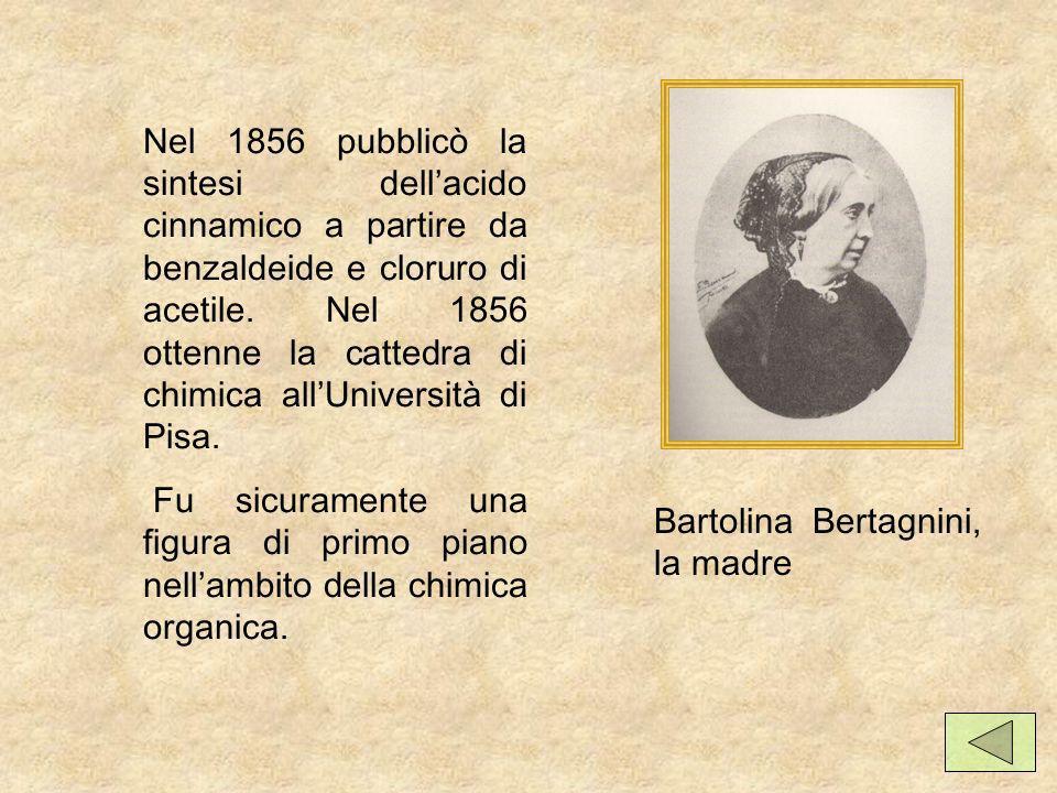 Nel 1856 pubblicò la sintesi dell'acido cinnamico a partire da benzaldeide e cloruro di acetile. Nel 1856 ottenne la cattedra di chimica all'Università di Pisa.