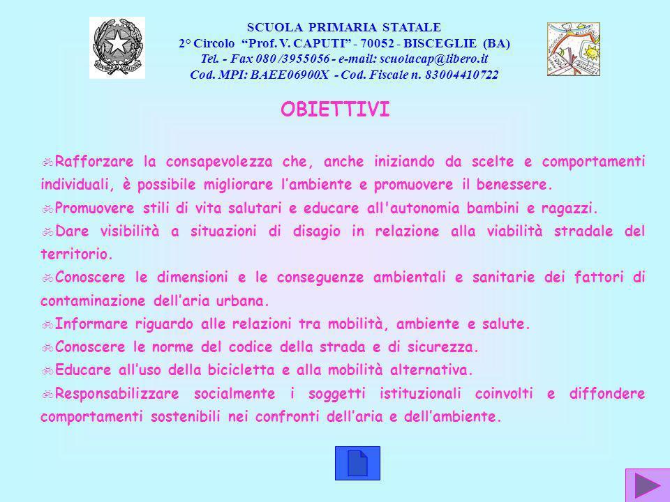 SCUOLA PRIMARIA STATALE. 2° Circolo Prof. V. CAPUTI - 70052 - BISCEGLIE (BA) Tel. - Fax 080 /3955056 - e-mail: scuolacap@libero.it.