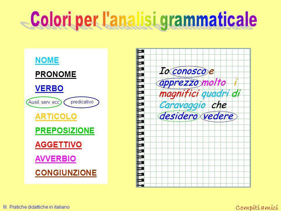 Colori per l analisi grammaticale