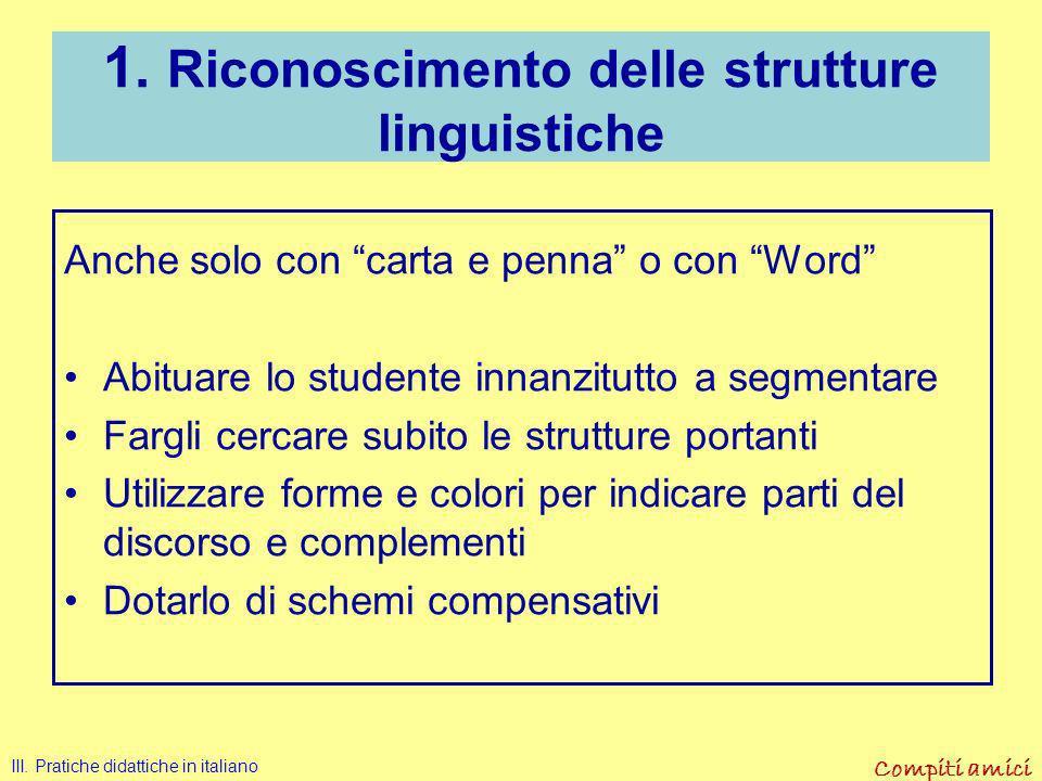 1. Riconoscimento delle strutture linguistiche