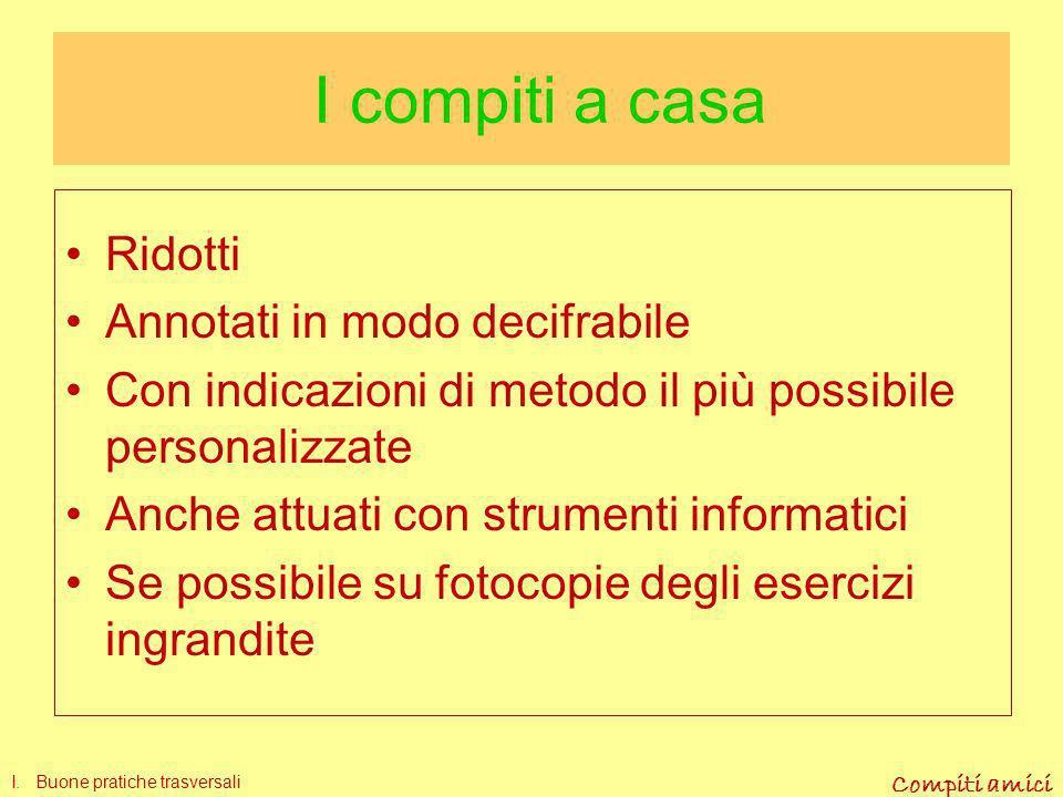 I compiti a casa Ridotti Annotati in modo decifrabile