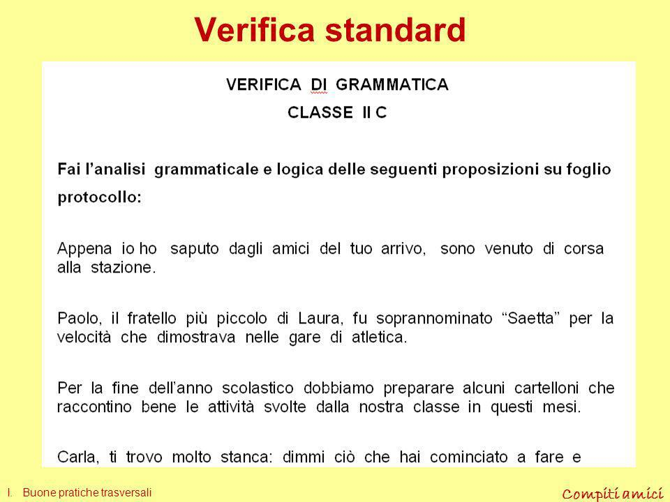 Verifica standard I. Buone pratiche trasversali