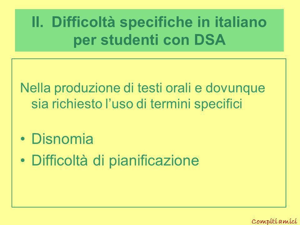 II. Difficoltà specifiche in italiano per studenti con DSA