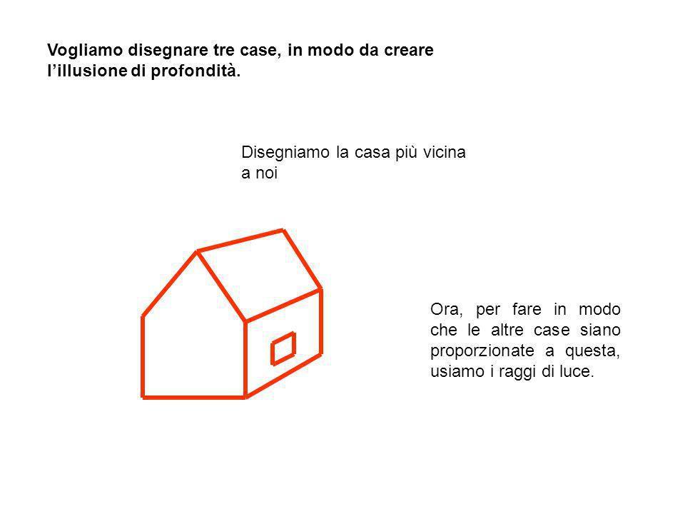 Vogliamo disegnare tre case, in modo da creare l'illusione di profondità.